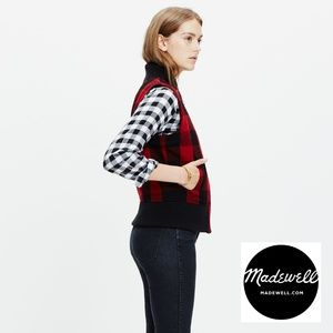 NEW Madewell Buffalo Check Plaid Fleece Vest M